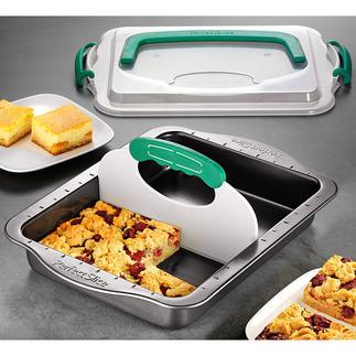 All-in-one-Blechkuchenform Backen, Schneiden, Aufbewahren und Transportieren - in nur einer Form.