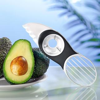 3-in-1-Avocadoschneider Avocados teilen, entkernen, auslösen, schneiden, ... Alles mit dem einen perfekten Tool.