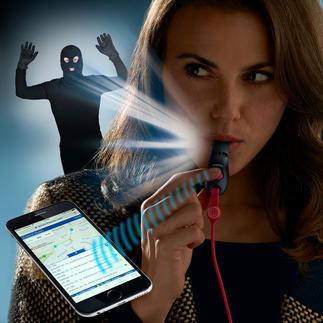 """SOS-SmartWhistle Ihre persönliche """"Alarmanlage"""": schnelle Hilfe auf Pfiff oder per Knopfdruck. Jederzeit und überall."""