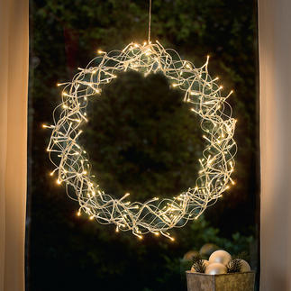 LED-Deko-Kranz Stimmungsvoller Lichterglanz. In- und outdoorgeeignet. Aus wetterfestem Edelstahl.