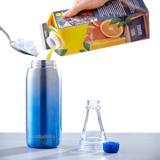 Trinkflasche Easy-Fill Aufschrauben. Befüllen. Genießen. Mit abnehmbarem Flaschenhals und doppelwandigem Edelstahlkörper. 100 % Auslaufsicher.