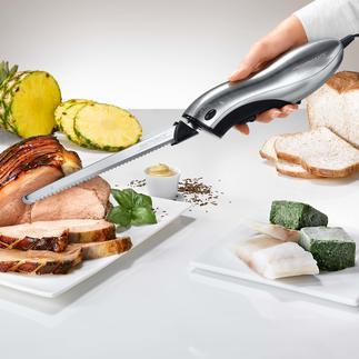 Elektro-Messer mit Wechselklinge Mit 2 Wechsel-Klingen für jedes Schnittgut. Im eleganten Edelstahl-Look (statt Plastik) inklusive Ständer aus Naturholz.