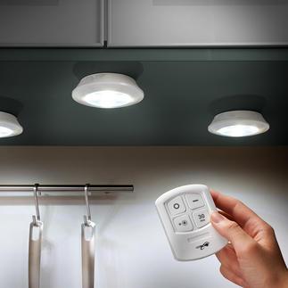 Kabellose LED-Leuchten, 3er-Set Kabelloses LED-Licht, wo und wie Sie es brauchen. Ohne Montage. Batteriebetrieben. Mit 2 Lichtstufen und Fernbedienung.