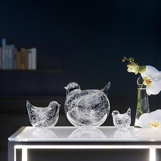 Glasfäden-Vögel, 3er-Set Charmante  Vogelfamilie aus mundgeblasenem Glas. Immer ein Unikat.