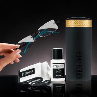 Eyeshaker Brillenreinigungs-Set Brillenreinigung im Handumdrehen. Ohne Strom. Günstiger und umweltfreundlicher als mit Einwegtüchern.