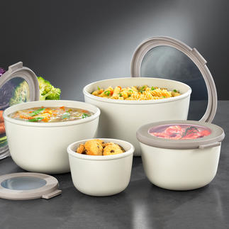 Multi-Schüssel, 4er-Set Die Multi-Schüssel zum Zubereiten, Servieren, Aufbewahren, Einfrieren, Erhitzen und Transportieren.