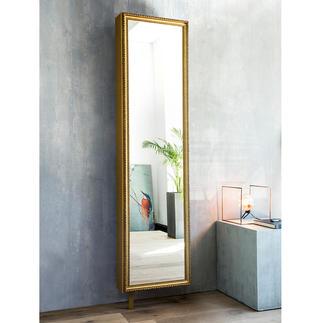 Spiegel-Drehschrank mit Rahmen Außen prachtvoll. Innen viel praktischer Stauraum. Kaschiert raffiniert sechs Ablagefächer.