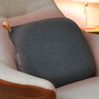Relax Back Design-Massagekissen Das Hightech-Massagekissen in skandinavischem Design. Mit 8 rotierenden Massageköpfen und zuschaltbarer Infrarotwärme.