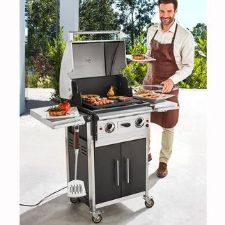 2-Zonen-Elektro-BBQ Deluxe Riesige Grillfläche mit 2 Temperaturzonen. Einzeln stufenlos einstellbar bis 250 °C.