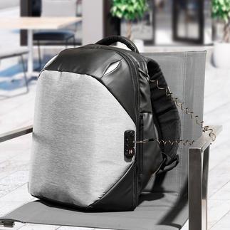 Anti-Diebstahl-Rucksack Schnitt- und stichfest. Mit TSA-Codeschloss, Stahlkabel zum Anketten, Doppel-Reißverschlüssen, ... Dabei schick, komfortabel und optimal organisiert.