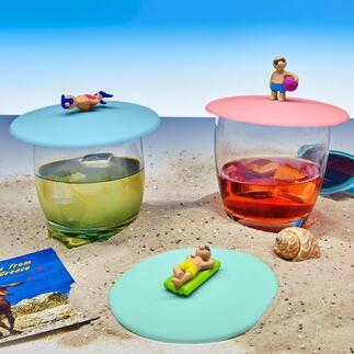 3er-Set Glas-Abdeckung Coole Beach-Boys und - Girls schützen Ihre Drinks vor lästigen Insekten.