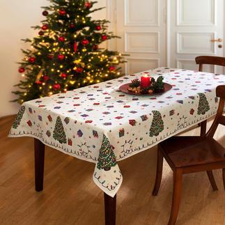 Nostalgische Weihnachts-Tischwäsche Aufwändig als Jacquard gewebt: die Tischwäsche mit fröhlichen Weihnachtsmotiven.