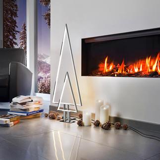 LED-Indoor-Lichtbaum Kitschfrei schlichtes Aluminium-Design. Raffiniert konturiert durch innenliegende LED-Lichtbänder.