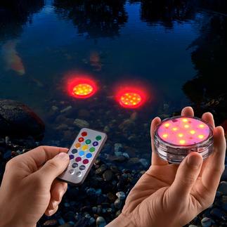 Wasserfeste LED-Farbleuchten, 3er-Set Kabellose (Farb-)Lichtakzente für drinnen und draußen. Sogar im Gartenteich, Pool, ...