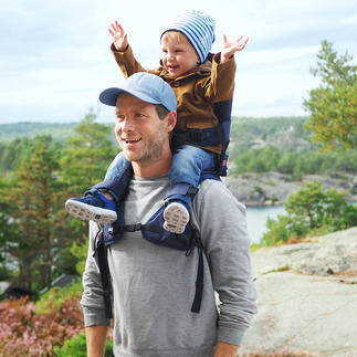 MiniMeis® Schultertrage Freie Sicht und bequemer Sitz fürs Kind. Freie Hände und entlasteter Rücken für Sie.