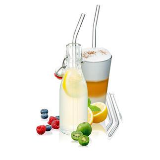 Glastrinkhalme, 8er-Set Stilvoll für Kalt- und Heißgetränke. Und schonend für die Umwelt. Robust, pflegeleicht, recyclebar.