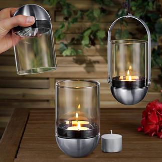Gravity Candle Windlicht Genial: das kardanisch aufgehängte Windlicht – im Handumdrehen sauber gelöscht.