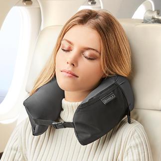 3-in-1 Travel Pillow Nackenkissen, Komfort-Kopfkissen und Kissen-Topper in einem. Zusammengerollt kaum größer als eine Mango.