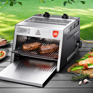 O.F.B. Hochtemperatur-Grill Der 800 °C-Steakgrill mit extra großer Grillfläche. Für drinnen und draußen.