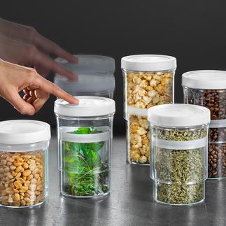 Vorratsdosen Multi-Size, 5er-Set Schließen luftdicht und passen sich dem Inhalt variabel an.