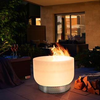 Glas-Feuerschale Geheimnisvolle Aura: Die Feuerschale aus Quarzglas.