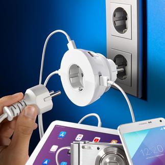 Steckdoseneinsatz mit 4 USB-Ports 4 USB-Power-Ports – und die Netzsteckdose bleibt frei. 230-V-Steckdose und Ladeplatz für Handy & Co. in einem.