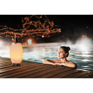 LED-Soundleuchte Synergy Pro Stimmungsvolles Licht. Satter 360°-Sound. Und kühle Getränke – aus einem coolen Design-Objekt.