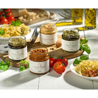 Gourmet-Pesto Der unverfälschte Geschmack Italiens – eingefangen in den hausgemachten Pesti von Nonna Rosina.