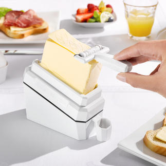 "Butterhobel ""butter-leaf"" Geniale Erfindung hobelt hauchfeine Portions-Scheiben von kalter Butter."