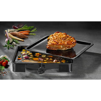 InnovativerOfenbräter Eine echte Innovation: der Ofenbräter mit genialer Bratensaft-Auffangfunktion. Keine wertvolle Flüssigkeit verdampft.