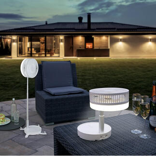 Kabelloser Vario-Ventilator Stand-, Tisch- und Reiseventilator in einem. Mit Akku (statt Netzstrom). Erfrischt drinnen und auf Terrasse, Balkon, beim Picknick, ...