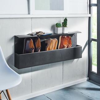 Design-Schuhbox Dänisches Design hält Ihre Schuhe bequem in Greifhöhe – und den Fußboden frei. Die stylishe Wandbox fasst 4-5 Paar: ordentlich aufgereiht, mit einem Griff parat.