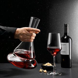 DoppioDoppelstock-Dekanter Geniales Design mit Wasserfalleffekt belüftet Ihren Wein auf zwei Ebenen. Für maximalen Sauerstoffkontakt.