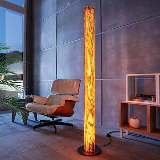 Design-Echtholz-Leuchte Columna Einzigartige Handwerkskunst lässt edles Olivesche-Holz in faszinierendem Licht erstrahlen. Jede Leuchte ein Unikat. Exklusiv bei Pro-Idee.
