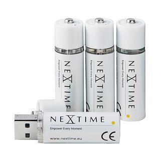 USB-aufladbare Mignon-Batterien, 4er-Set Die neue Generation aufladbarer Batterien. Ohne Ladegerät, ohne Kabel. Einfach am USB-Port aufladbar.