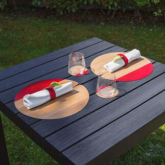 Tischset Nelumbo oder Glasuntersetzer Design-Tischsets made in Italy: jedes ein Unikat aus handwerklicher Fertigung. Die natürliche Schönheit von Holz.