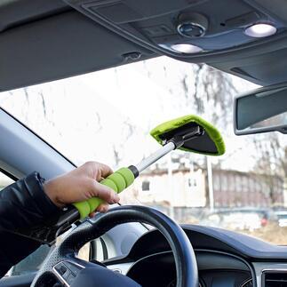 Kombi-Scheibenreiniger/Eiskratzer, 2er-Set Saubere Autoscheiben und freie Sicht – schnell, einfach und ohne Verrenkungen. Scheibenreiniger und Eiskratzer in einem. Für innen und außen. Mit Teleskopstiel.