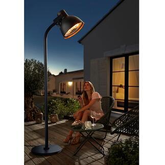 Hoberg Heizstrahler in XXL-Lampenform Wärmt Sie kuschelig auf Ihrer Terrasse. Und verlängert so Ihre Draußensaison.
