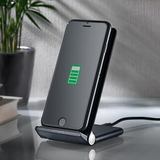 Smartphone-Halter/Wireless-Ladestation Doppelt praktisch: stufenlos verstellbarer Handyhalter und Wireless-Ladestation in einem.