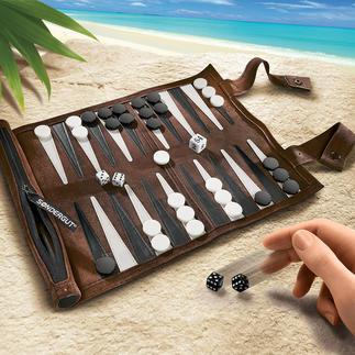 Reise-Backgammon Aus weichem Veloursleder. Handliche Rolle im Taschenschirm-Format.