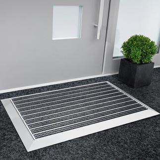 Edle Alu-Empfangsmatte Die schöneren Fußmatten sind auch die besseren: aus unverwüstlichem Aluminium und Nylon in Profi-Qualität.