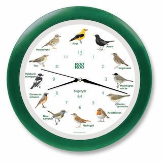 Vogelstimmen-Funkwanduhr Mit 12 unterschiedlichen Original-Vogelstimmen. Die singende Vogeluhr verbreitet jede Stunde gute Laune.