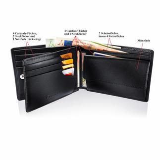 Patentierte Lederbörse Mit patentiertem Sicherungssystem für Ihre Kreditkarten. Lässt keine Karte mehr herausfallen.