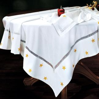 Weihnachts-Tischwäsche In aufwändiger Feinarbeit wird der wertvolle italienische Hohlsaum noch rein von Hand gefertigt.