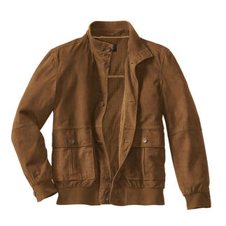 Das klassische Lumber-Jacket aus feinstem, ungefüttertem Ziegenvelours-Leder. Das Original mit stilechten Details.