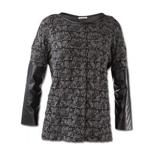 Pinko Rock-Chic-Shirt Fashion-Facts des Shirts: Schwarz/Grau. Spitzen- und Leder-Optik.