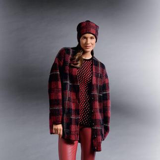 M Missoni Oversize-Karo-Jacke Oversize-Form. Strick. Flausch-Optik. Und Schwarz-Rot kariert. Missonis Jacke trifft gleich mehrere Trends.