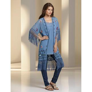 Twin-Set Lingerie-Tunika oder Kimono-Mantel Style-Booster Kimono-Mantel. Bei Twin-Set kostbar handbestickt. Und trendgerecht kombiniert.