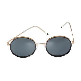 Die dreifach modische Sonnenbrille von JOOP! Runde Retro-Form. Breite Gold-Fassung. Moderne Ultraleicht-Bügel.