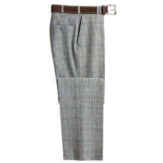 Die Glencheck-Hose aus feinem Leinen von Bottoli, Italien. Passt zu fast allem, was Sie längst in Ihrem Kleiderschrank haben.